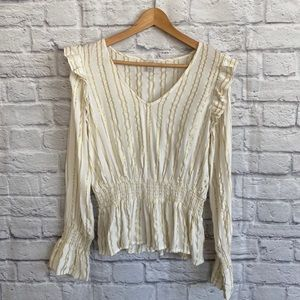HINGE Cream with Gold Stripe Blouse Top